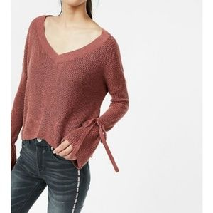 Express Cropped Tie Sleeve Sweater